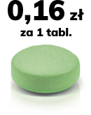 zielona tabletka z napisem 0,16 zł za tabletkę