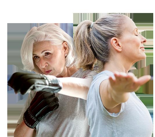 dwie kobiety podczas ćwieczeń